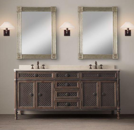 louis xvi treillage double vanity restoration hardware master bath