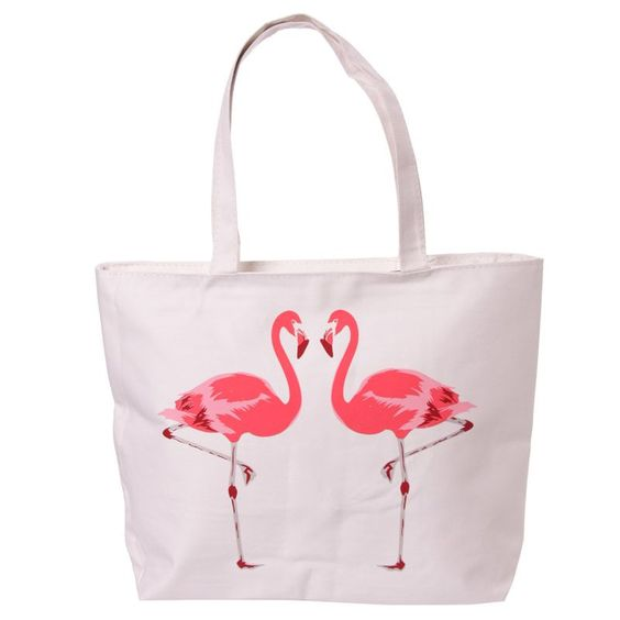 Handy Cotton Zip Up Shopping Bag - Flamingo - Need a handy ...