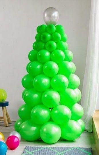 Rbol de navidad hecho con globos manualidades - Manualidades con globos ...