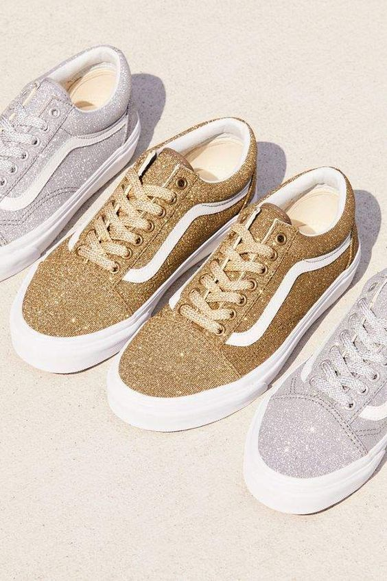 Great for Vans Lurex Glitter Old Skool Mens Fashion Sneakers