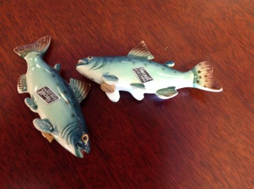 Norcrest Fine China Mid Century Chinook Salmon Salt And Pepper Shakers