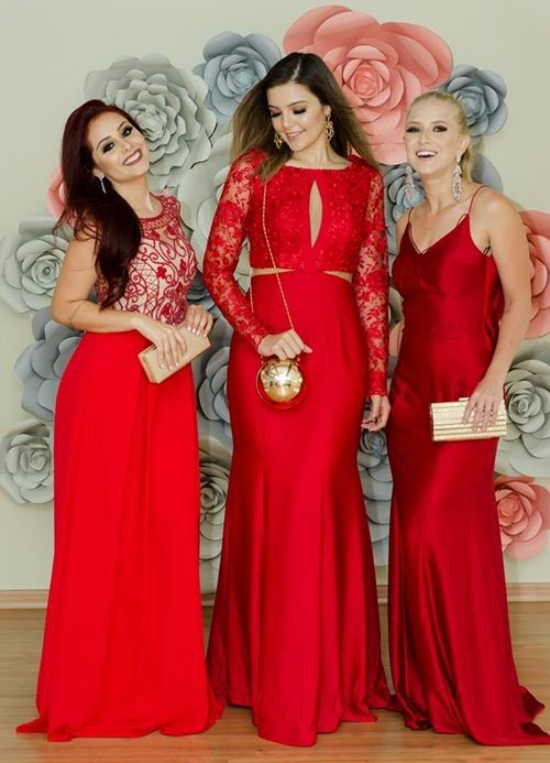 Seleção  de vestido vermelho longo para madrinhas de casamento