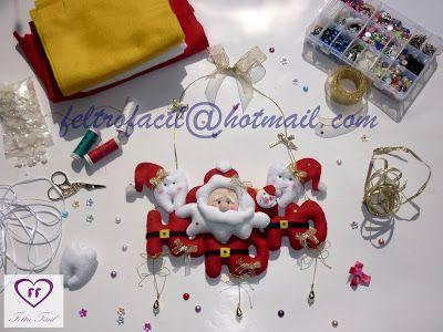 enfeite de porta de natal com dentes/dentinhos em feltro para dentistas; Tooth Teeth Felt Christmas