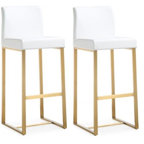 Gold Metal White Faux Leather Bar Or Counter Stool Set 2 Leather