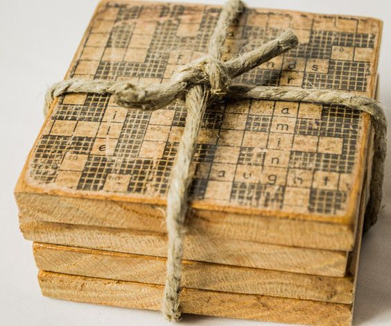 wooden crossword puzzle coasters