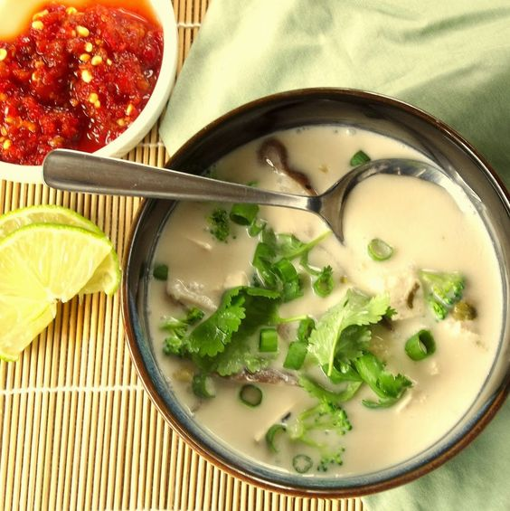 Tom Kha Gai~Thai coconut soup with with lemongrass, kaffir lime leaves, Thai ginger, tofu and fresh veggies.
