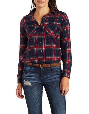 Plaid Flannel Button-Up Shirt: Charlotte Russe