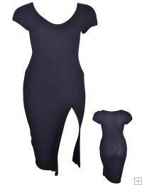 SOLID BLACK SCOOP NECK ASYMMETRICAL SLIT BODYCON DRESS  WHOLESALE PLUS SIZE DRESSES  1613BK PLUS BODYCON DRESS UNIT PRICE $11.75 1-1-1 PACKAGE (3PCS)