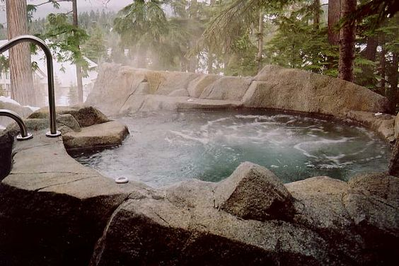 This is quite possibly the greatest hot tub I have ever seen!  I love how it looks so natural, blending in with the scenery.  Stone Hot tub: