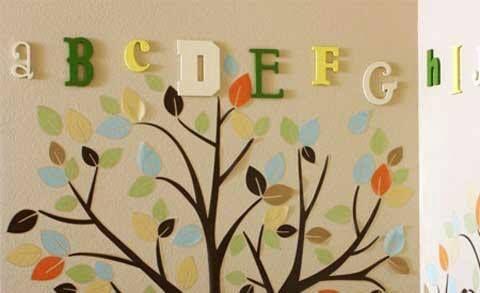 #kristy #wall #decoration #leaves #tree #green #thinkgreen #lightblue #orange #brown #yellow #earthytones
