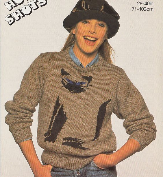 Knitting Pattern Cat Sweater : Vintage siamese cat knitting pattern sweater jumper for women or men adults d...