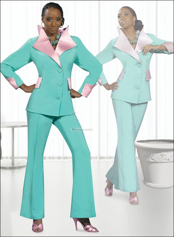 Paster Mint and Pink Top Quality Sunday Church Pant Suit by Donna Vinci 11207 $159.00