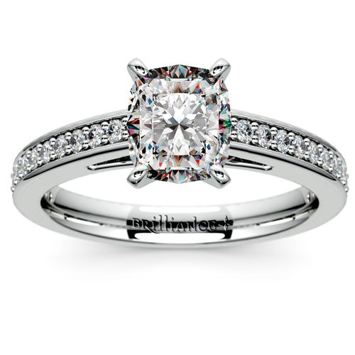 Pave Cathedral Diamond Engagement Ring in Platinum 1 4 ctw