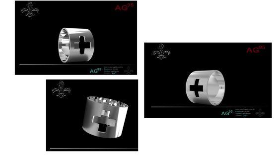 Anel em 3D AG95prata