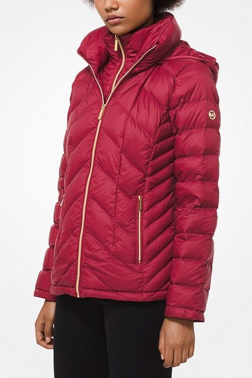 Quilted Puffer Jackets With Hood By Michael Kors Red Puffer Coat Women S Puffer Coats Ladies Coat Design