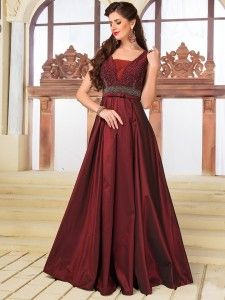 Maroon Color Silk Gown Gown Party Wear Gowns Designer Evening