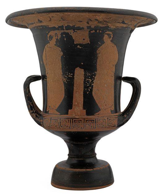 1903.70.f Clay calyx-krater vase (reverse), found at Lipari, Italy, 350–325 BC.