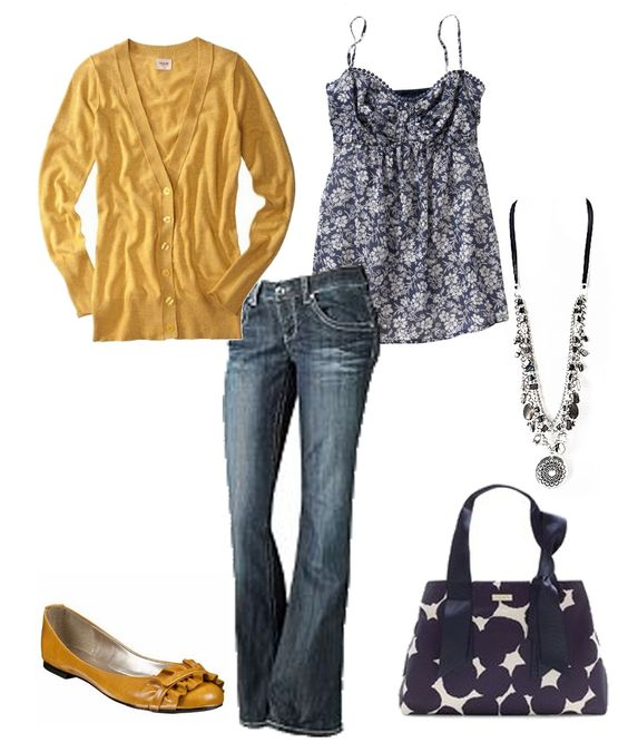 Hello, Yellow!! #apparel #clothing #clothes #jeans #yellow #blue #shoes