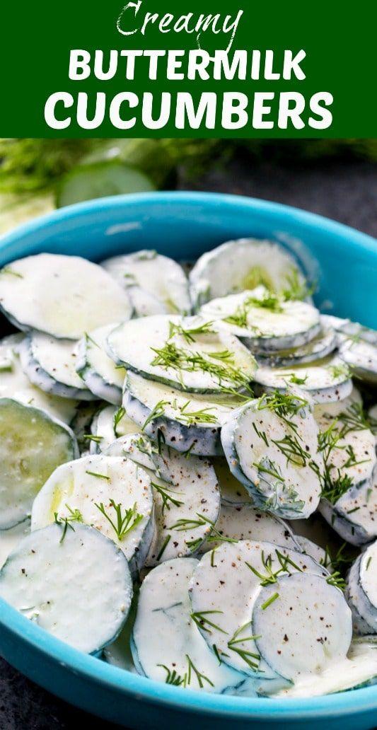 Creamy Buttermilk Cucumbers Skinny Southern Recipes Recipe Southern Recipes Cucumber Recipes Buttermilk