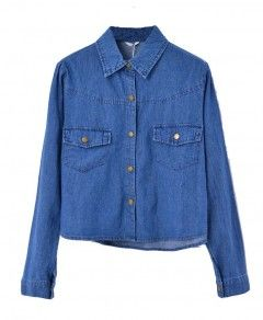 Point Collar Denim Blouse with Twin Pockets Front