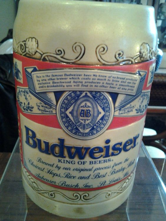 Check out this item in my Etsy shop https://www.etsy.com/listing/237119038/vintage-large-budweiser-beer-stein-mug