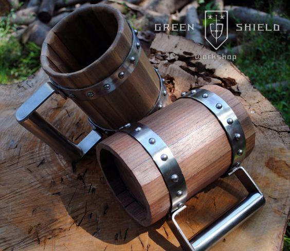 Wooden Beer Mug/ Tankard Wallnut by GreenShieldWorkshop on Etsy