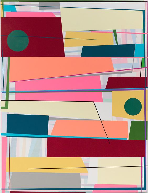 Gary Petersen's skewed geometric paintings call forth analogies to music and architecture, a realm of vertical intervals and diagonal supports spliced into a precarious balance.: