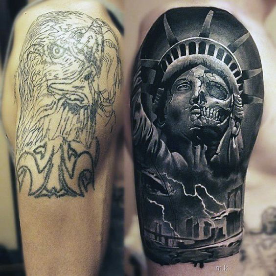 male arms cracked statue of liberty realism tattoo full and half sleeve tattoos pinterest. Black Bedroom Furniture Sets. Home Design Ideas