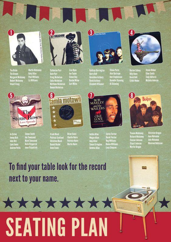 Music themed Seating Table Plan  - Vintage Retro Style Wedding Vinyl Record. $114.00, via Etsy.