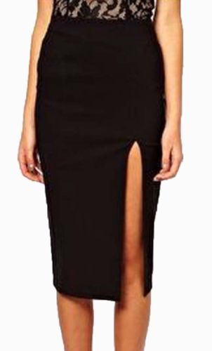 Details about Womens/Ladies Black High Waist Pencil Bodycon ...