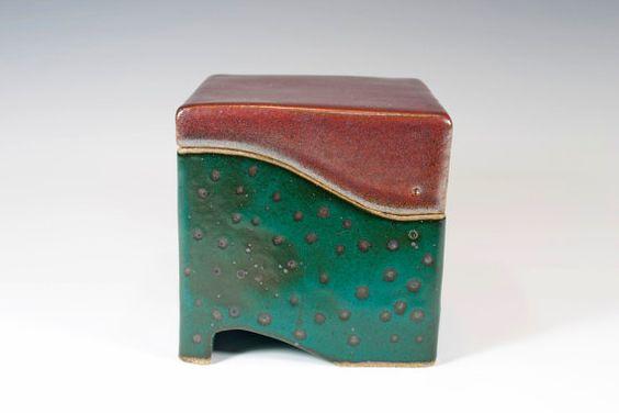 Ceramic box, slab built, stoneware, handmade pottery