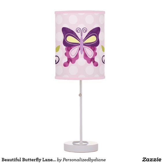 Beautiful Butterfly Lane & Flowers Nursery Lamp  