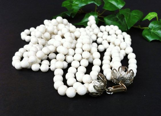 Long Bead Necklace Faux Pearl White Bead by PrettyShinyThings4U