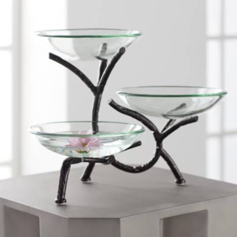 Metal Branching 12 High 3 Tier Stand With Glass Bowls 14k08 Lamps Plus In 2020 Dining Room Accessories Round Glass Table Tiered Stand