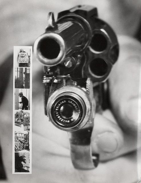 Revolver camera: a Colt 38 carrying a small camera that automatically takes a picture when you pull the trigger. At the left: six pictures taken by the camera. New York, 1938