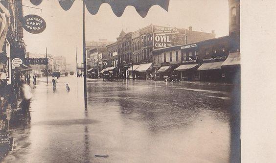 Flooded street after cloudburst, Jackson, Michigan, July 15, 1909. | Flickr - Photo Sharing!