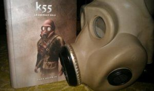 K55 by Erica Oscarius     Actually the same gas mask in the picture as on the cover. Just different color.    http://feuerzeug.wordpress.com/2012/01/25/k55-ett-bandknull-utan-utlosning/