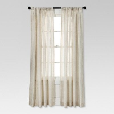 Leno Weave Sheer Curtain Panel Ivory 54 X84 Threshold Beige