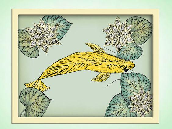 Children's bath art yellow koi fish art by TheMerryRaven on etsy.