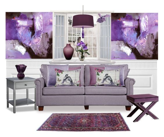 """Living with Purple"" by terry-tlc ❤ liked on Polyvore featuring interior, interiors, interior design, home, home decor, interior decorating, 1Wall, Threshold, CB2 and Madura"