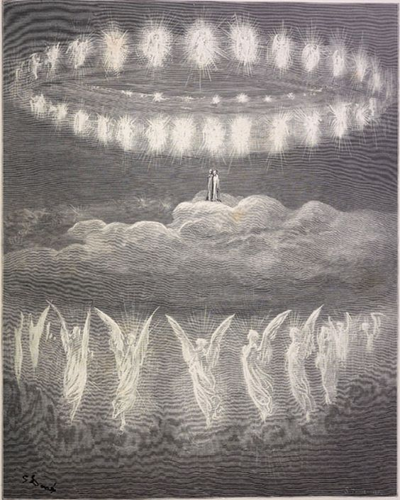 The sparkling circles of the heavenly host. Creator: Doré, Gustave Date: c.1868 Medium: engraving Source: The vision of Purgatory and Paradise by Dante Alighieri (London and New York: Cassell, Petter, and Galpin [1868?].