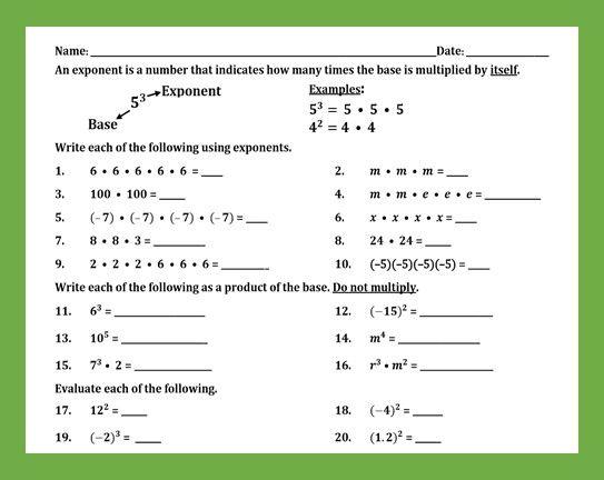 20++ Fabulous exponents practice worksheet Wonderful