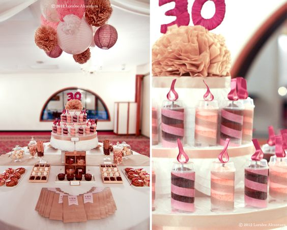 30th Birthday : Featuring a handmade cake display for 30 candle cake push-ups