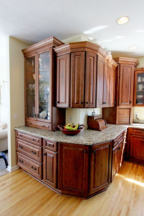 In this kitchen, Medallion Gold Maple Amaretto cabinets in the