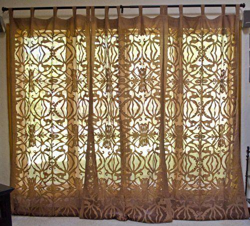Nadia Cotton Applique Sheer Curtain Drapery Panel Chocolate Brown ...
