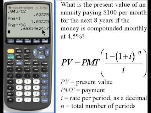 Calculating Present Value Of An Annuity Ti 83 84 141 35 Youtube Annuity Calculator Investing