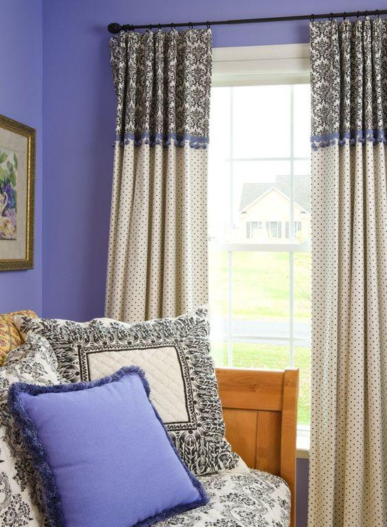 gardinen blickdicht frisches gardinenmuster lila wände stoffmuster