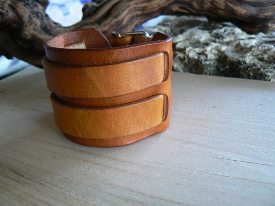Leather Cuff Brown Leather Cuff  Leather Bracelet  by GORIANI
