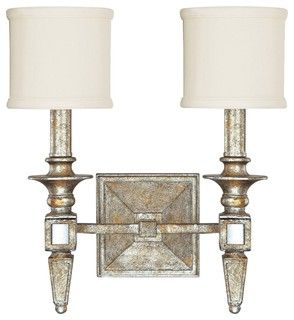 "Traditional Palazzo 13"" Wide Silver and Gold Leaf Wall Sconce - traditional - wall sconces - by Lamps Plus"