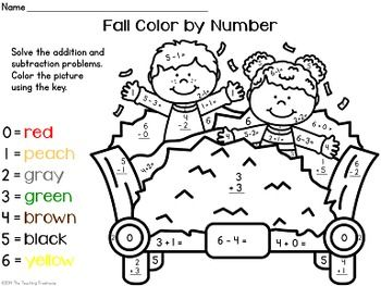 math worksheet : fall autumn color by number  addition  subtraction within 10  : Subtraction Color By Number Worksheets